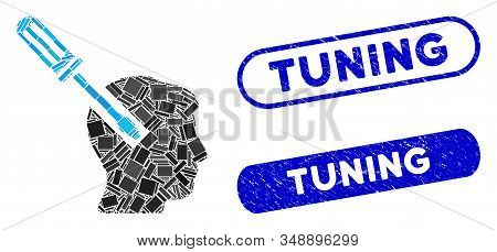 Mosaic Head Screwdriver Tuning And Rubber Stamp Watermarks With Tuning Caption. Mosaic Vector Head S