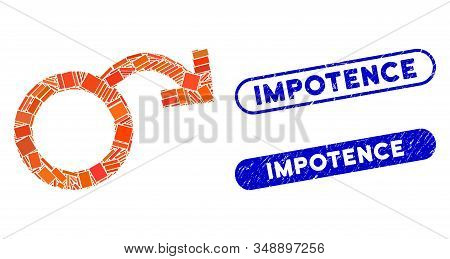 Mosaic Impotence And Corroded Stamp Seals With Impotence Text. Mosaic Vector Impotence Is Composed W
