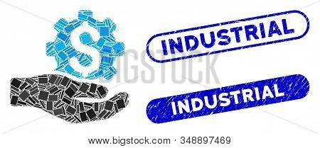 Collage Industrial Service And Distressed Stamp Watermarks With Industrial Caption. Mosaic Vector In
