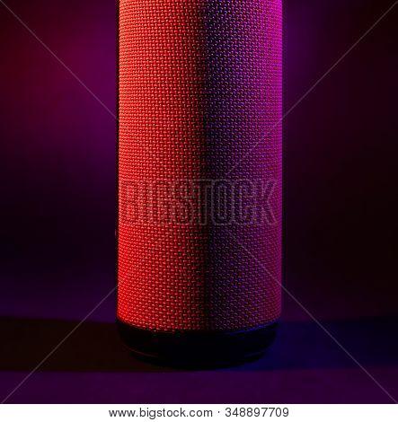 Portable Column Cylindrical Shape. Studio Stock Photo Bluetooth Column.