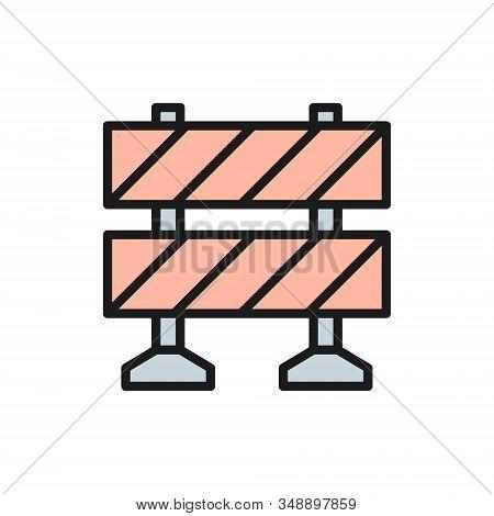 Railroad Barrier, Roadblock Flat Color Line Icon.