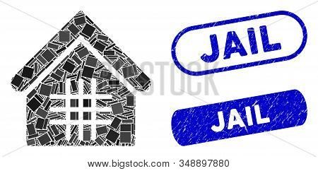 Mosaic Jail And Rubber Stamp Seals With Jail Text. Mosaic Vector Jail Is Created With Random Rectang