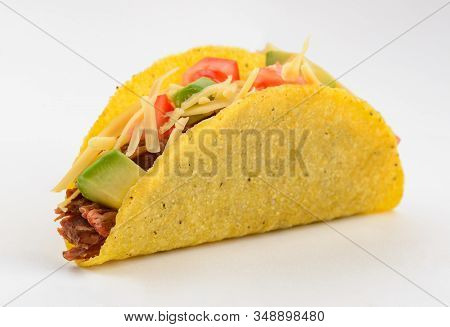 Taco On White Background. Mexican Food For Your Design