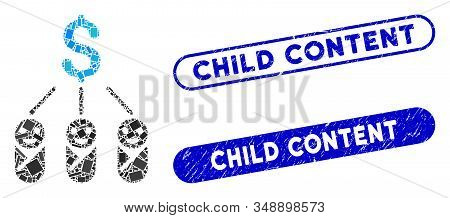 Mosaic Kid Expenses And Rubber Stamp Watermarks With Child Content Text. Mosaic Vector Kid Expenses
