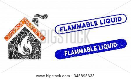 Mosaic Kitchen Fire And Rubber Stamp Seals With Flammable Liquid Text. Mosaic Vector Kitchen Fire Is