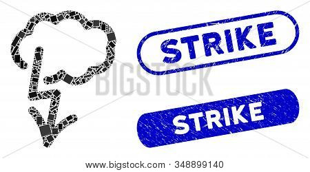 Mosaic Lightning Strike And Rubber Stamp Seals With Strike Text. Mosaic Vector Lightning Strike Is F