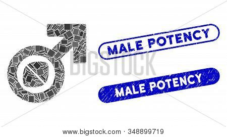 Mosaic Male Potency Tablet And Corroded Stamp Seals With Male Potency Phrase. Mosaic Vector Male Pot