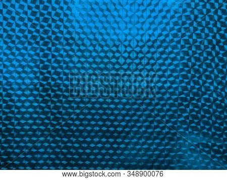 Modern Abstract Trend Blue Background, Geometric Texture Foil Blue Color Gift Paper. Background For