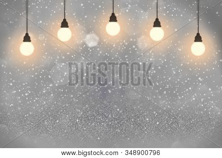 Blue Wonderful Glossy Abstract Background Light Bulbs With Sparks Fly Defocused Bokeh - Celebratory