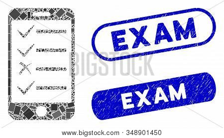 Mosaic Mobile Todo List And Grunge Stamp Seals With Exam Phrase. Mosaic Vector Mobile Todo List Is F