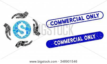 Mosaic Money Care Hands And Rubber Stamp Seals With Commercial Only Caption. Mosaic Vector Money Car