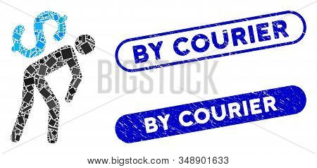 Mosaic Money Courier And Corroded Stamp Seals With By Courier Phrase. Mosaic Vector Money Courier Is