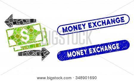 Mosaic Money Exchange And Grunge Stamp Seals With Money Exchange Text. Mosaic Vector Money Exchange