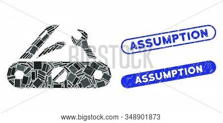 Collage Multitool Knife And Distressed Stamp Seals With Assumption Phrase. Mosaic Vector Multitool K