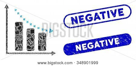 Mosaic Negative Trend And Grunge Stamp Seals With Negative Text. Mosaic Vector Negative Trend Is For
