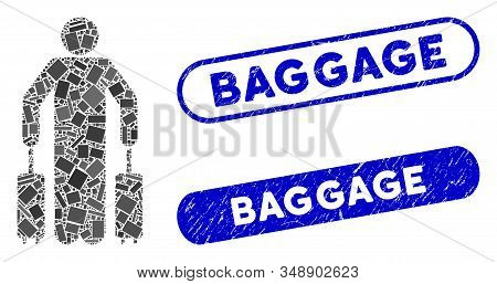 Mosaic Passenger Baggage And Rubber Stamp Seals With Baggage Caption. Mosaic Vector Passenger Baggag