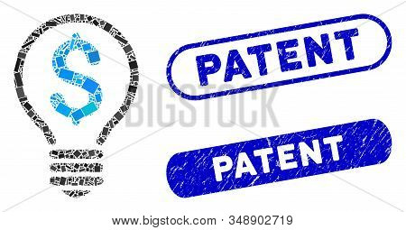Mosaic Patent And Rubber Stamp Seals With Patent Phrase. Mosaic Vector Patent Is Composed With Scatt