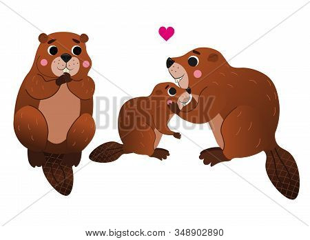 Cute Cartoon Wild Beaver Family Vector Image. Male And Female Beaver With Their Little Beaver. Fores