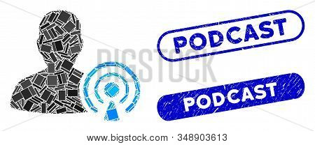 Mosaic Podcast Creator And Rubber Stamp Seals With Podcast Phrase. Mosaic Vector Podcast Creator Is