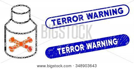 Collage Poison Bottle And Corroded Stamp Seals With Terror Warning Caption. Mosaic Vector Poison Bot