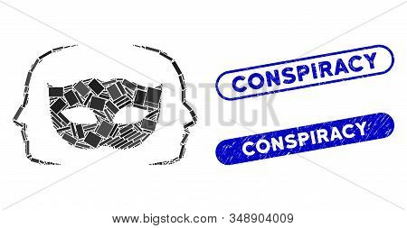 Collage Private Party Mask And Distressed Stamp Seals With Conspiracy Text. Mosaic Vector Private Pa