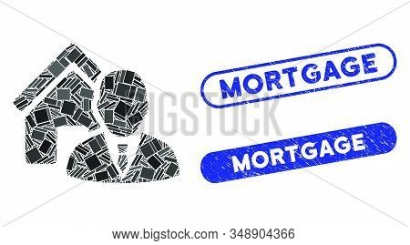 Mosaic Realtor And Rubber Stamp Seals With Mortgage Phrase. Mosaic Vector Realtor Is Composed With R