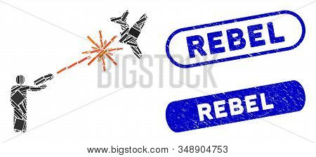 Collage Rebel Strikes Airplane And Rubber Stamp Seals With Rebel Text. Mosaic Vector Rebel Strikes A