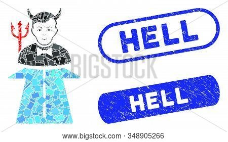 Mosaic Road To Hell Monster And Corroded Stamp Watermarks With Hell Caption. Mosaic Vector Road To H