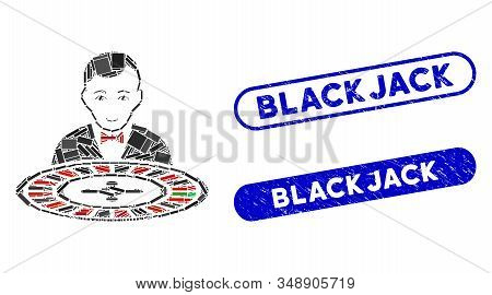 Mosaic Roulette Dealer And Rubber Stamp Seals With Blackjack Caption. Mosaic Vector Roulette Dealer