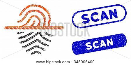 Collage Scan Fingerprint And Rubber Stamp Watermarks With Scan Phrase. Mosaic Vector Scan Fingerprin