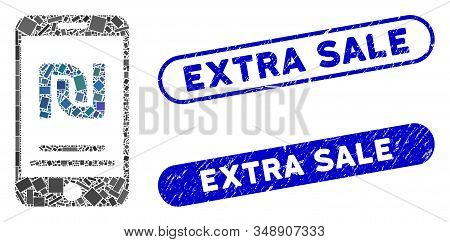 Collage Shekel Mobile Payment And Corroded Stamp Seals With Extra Sale Phrase. Mosaic Vector Shekel
