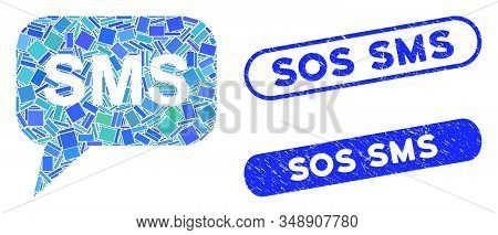 Mosaic Sms And Distressed Stamp Watermarks With Sos Sms Text. Mosaic Vector Sms Is Composed With Sca