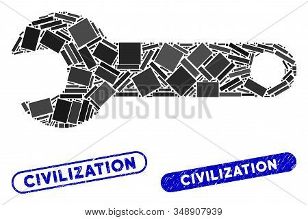 Collage Spanner And Grunge Stamp Seals With Civilization Caption. Mosaic Vector Spanner Is Composed