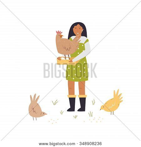 Scene With A Farmer Girl Taking Care Of Hens.