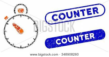 Collage Stopwatch And Distressed Stamp Seals With Counter Text. Mosaic Vector Stopwatch Is Composed