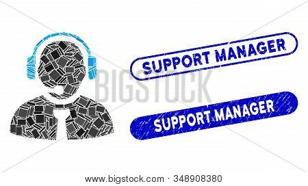 Mosaic Support Manager And Grunge Stamp Seals With Support Manager Caption. Mosaic Vector Support Ma