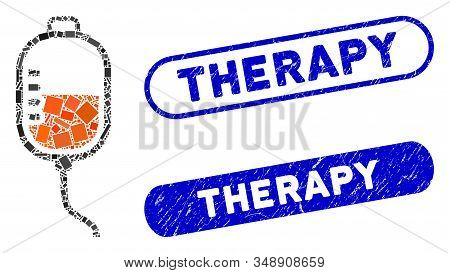 Collage Therapy Dropper And Distressed Stamp Seals With Therapy Phrase. Mosaic Vector Therapy Droppe