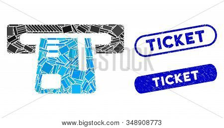 Mosaic Ticket Terminal And Distressed Stamp Seals With Ticket Phrase. Mosaic Vector Ticket Terminal
