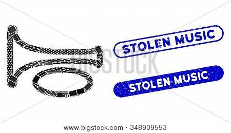 Mosaic Trombone And Grunge Stamp Seals With Stolen Music Caption. Mosaic Vector Trombone Is Designed