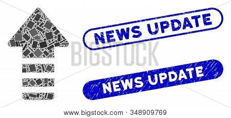 Collage Update Arrow And Corroded Stamp Watermarks With News Update Caption. Mosaic Vector Update Ar