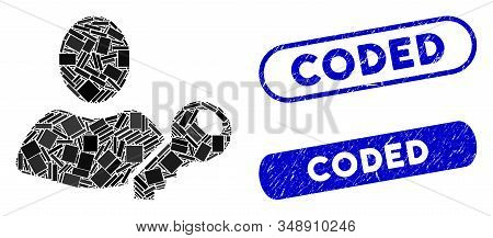 Mosaic User Key And Rubber Stamp Seals With Coded Phrase. Mosaic Vector User Key Is Designed With Ra