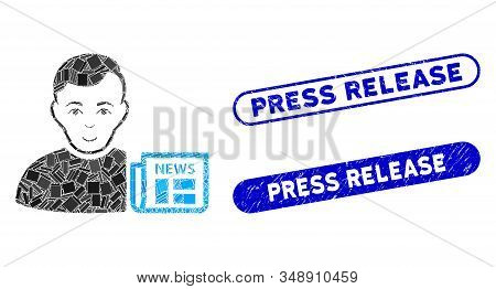 Mosaic User News And Rubber Stamp Seals With Press Release Caption. Mosaic Vector User News Is Forme