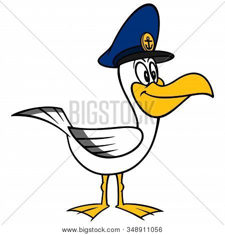 Seagull With A Captain Hat - A Cartoon Illustration Of A Seagull With A Captain Hat.
