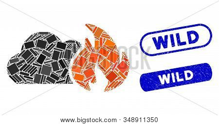 Mosaic Wild Fire And Rubber Stamp Seals With Wild Caption. Mosaic Vector Wild Fire Is Formed With Sc