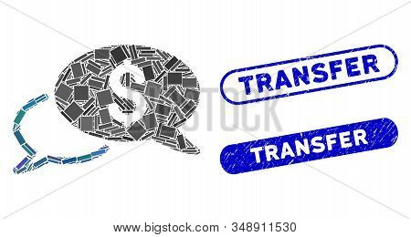 Mosaic Wire Transfer And Grunge Stamp Watermarks With Transfer Phrase. Mosaic Vector Wire Transfer I