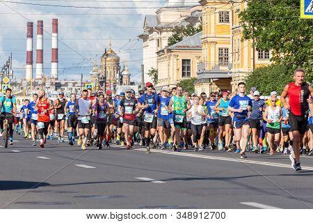 St. Petersburg, Russia - June 30, 2019: 30th International Marathon - White Nights. Marathon Runners