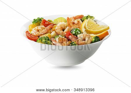 Healthy Salad Seafood Meal With Grilled Shrimps And Vegetables Isolated On White Background. Grilled