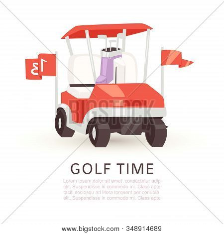 Golf Time Cartoon Poster Vector Illustration. Summer Sports Competition And Outdoor Leisure. Golfing