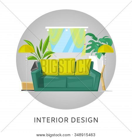Living Room Interior With Furniture Cartoon Vector Illustration. Living Room With Sofa, Lamp And Hom