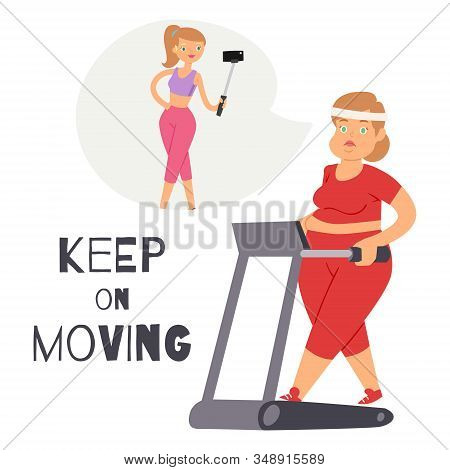Keep On Moving Background With Fat Women Sporty Jogging On Gym Apparatus Vector Cartoon Illustration